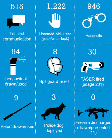 Types of Use of Force used infographic
